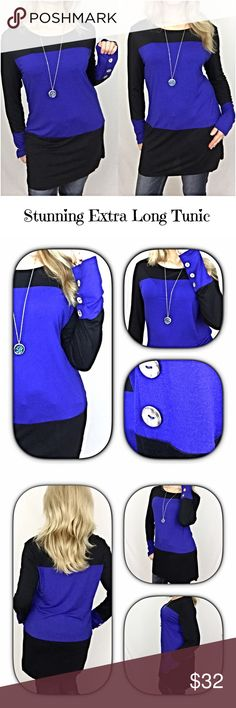 "Stunning Extra Long Colorblock Tunic SML Stunning royal blue & black extra long tunic with button sleeve detail. Lightweight, stretchy & flattering fit. Definitely long enough to cover your bottom to wear with leggings, jeggings & skinnies95% cotton/5% Spandex  Small 2/4 Bust 32-34 Length 30.5"" Medium 6/8  Bust 36-38 Length 31"" Large 10/12  Bust 40-42 Length 31.5"" Tops"