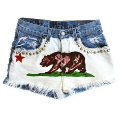 California Republic Style High Waisted Vintage Jean Shorts from HeartWild on Etsy. Saved to Things I want as gifts. High Waisted Shorts Outfit, Vintage High Waisted Shorts, Vintage Shorts, Vintage Jeans, Girls Flip Flops, California Republic, California Flag, Cali Girl, Cute Outfits