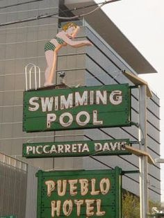"""Tucson's """"Diving Girl"""" was one of the many neon signs in limbo when signage laws prohibited businesses from restoring a vintage neon sig. Old Neon Signs, Vintage Neon Signs, Old Signs, Advertising Signs, Vintage Advertisements, Vintage Cookbooks, Beach Signs, Daily Photo, Along The Way"""