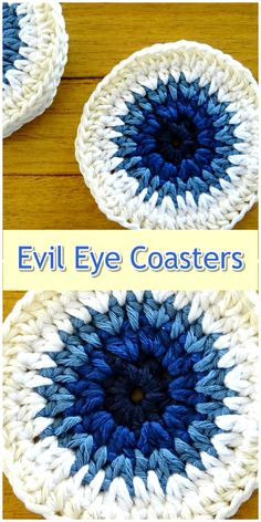Crochet evil eye inspired coasters available in sets of 6 and Wholesale enquiries welcomed Crochet Eyes, Crochet Home, Crochet Gifts, Crochet Motif, Easy Crochet, Knit Crochet, Knitting Projects, Crochet Projects, Halloween Crochet