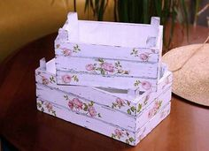 Wood crates painted white with pink roses