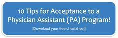 Great cheatsheet for PA applicants!