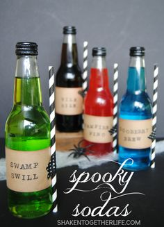 Spooky Sodas - bottled soda gets get a monstrous makeover! SO fun for a Halloween party!
