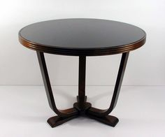 1930s French Art Deco Walnut and Glass Side Table Gueridon | From a unique collection of antique and modern coffee and cocktail tables at https://www.1stdibs.com/furniture/tables/coffee-tables-cocktail-tables/