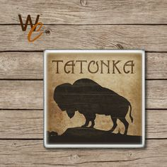 Drink Coaster, TATONKA Handmade Design, Buffalo Ceramic Tiles, Grunge Wildlife Home Decor, The Great Outdoors Bar Coaster, Made To Order by WoodlandCrew on Etsy