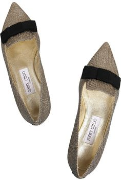 Jimmy Choo | Gala textured-lamé point-toe flats | NET-A-PORTER.COM