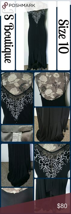 """Sz 10 LBD Beaded Embroidered Hi-Low Black Dress Absolutely stunning! Delicate beading, embroidery and sequin work adorn this gorgeous and flattering dress. Excellent pre worn condition, worn 1 time!  Bottom is has a long Hi-low style. Back has a hidden zipper. Freshly Dry Cleaned. 60% Polyester, 14% Nylon, 6% Spandex-lots of give. Across Bust 18"""", Length 57""""  No rips, tears, or stains.... From a smoke-free, dog friendly home, No trades!! (T217) JS Boutique Dresses High Low"""