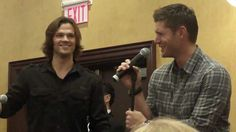 "Jared and Jensen talking about the limitations of TV. Jensen's reaction to Jared's ""You rotten snail"" is classic."