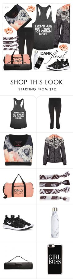 """""""Dark Florals: Gear Up in Style!"""" by curvacious ❤ liked on Polyvore featuring Sweaty Betty, Ted Baker, Only Play, NIKE, S'well, Matt & Nat, Casetify and Samsung"""