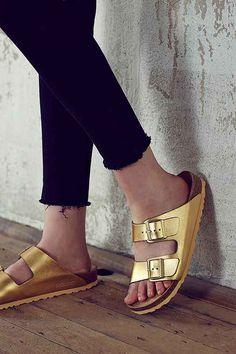 Birkenstock Arizona Metallic Leather Slide Sandal - Urban Outfitters. Omg I need these in my life