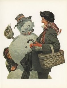 """December 20, 1919 Saturday Evening Post cover by Norman Rockwell entitled """"Grandfather and Snowman"""" - it's great how he enjoys it!"""