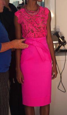 oscar de la renta fluo pink dress