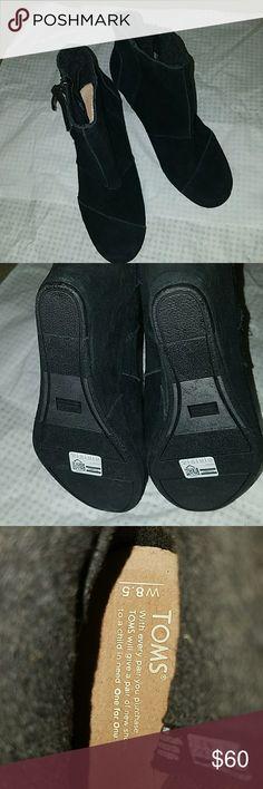 TOMS BLACK zip up bootie wedges NEVER WORN, NO BOX, TOMS Shoes Wedges