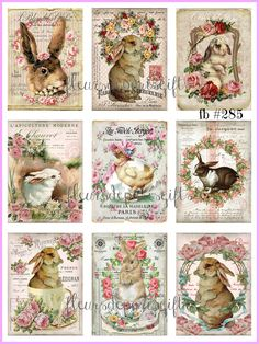 Shabby Chic French Vintage Easter Bunnies Chick Roses 9 Small Prints on Fabric Quilting Sewing Crafting FB Shabby Chic Français, Bunny Art, Easter Printables, Vintage Easter, Altered Books, Easter Crafts, Easter Bunny, French Vintage, Quilt Blocks