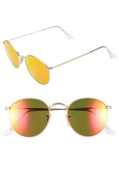 Ray-Ban 50mm Round Polarized Sunglasses | Nordstrom