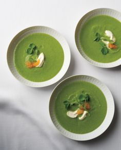 This smooth, sophisticated pea and parsley soup is an homage to the season. It gets body from creme fraiche and a salty snap from orbs of golden caviar.
