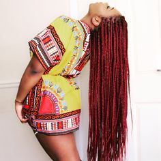 Red box braids  Dashiki