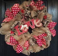 Valentine's burlap mesh wreath Valentine's by ShellysChicDesigns