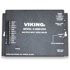 Viking Electronics Multi-input Voice Dialer/Annou (VK-K-2000-DVA) by Viking. $335.78. Multi-input Voice Dialer/AnnouncerFully programmable multi-input multi-number auto dialer and digital announcer designed for emergency and non-emergency message notification. Has 8 dry contact inputs which when tripped will sequentially dialup to 8 different phone numbers and play a recorded message corresponding to the input tripped. Stores up to seven 16 digit phone numbers & one 3...