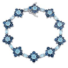 Laura Ashley London and Swiss Topaz Flower Bracelet in Sterling Silver, Women's