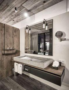 Salle de bain à l'esprit rustique http://www.m-habitat.fr/par-pieces/sanitaires/idees-deco-et-amenagements-pour-une-salle-de-bains-2682_A