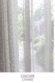 Sparkling sheer fabric featured at Couture Living this Winter. Gray Interior, Interior Design, Voile Curtains, Sheer Fabrics, Design Trends, House Plans, Interior Decorating, Couture, How To Plan
