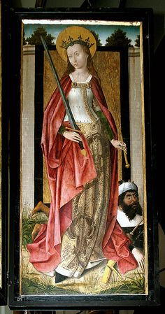 St. Catherine with the defeated emperor Maxentius, possibly painted by the master of the St. Goedele face, ~1500