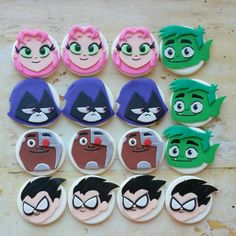 Teen titans fondant cupcake toppers. by DsCustomToppers on Etsy