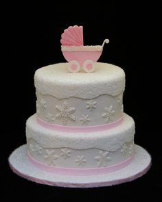 Really Sweet Baby Shower Cake...This Must Be a Winter Birth Because of All the Little Snowflakes...