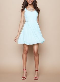 Such a cute embellished belt on this aqua fit & flare dress.