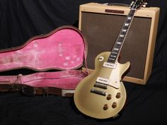 """Iconic: A Les Paul Goldtop (with P-90s) and a Fender Bassman (6L6GC tubes with 4 x 10"""" Jensen speakers)... arguably and in some respects a finer pairing than a Les Paul with humbuckers thru a Marshall half-stack (with EL84 tubes and 4 x 12"""" Celestions). Original four-latch 'Cali Girl' case by Lifton."""