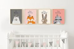Set of 4, Giclee Print, Woodlands Nursery, Forest Animal Set, Nursery Art, Forest Friends, Nursery Forest Decor, Bear Fox Bunny Racoon, Girl. ❥ ❥ ❥ ❥ ❥ Opening SALE - Enjoy 30% Off ALL ITEMS! Enter Coupon Code TAKE30OPEN at Checkout. ❥ ❥ ❥ ❥ ❥ ❥ Be right on trend with this beautiful and genuine handmade, Giclee Print, Woodlands Set features 4 adorable Forest Friends - Bear, Fox, Bunny, and Racoon, on Pink, Ivory, and Grey backgrounds, with a delicate Faux Gold Cross Pattern, and…