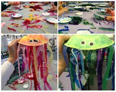 "Paper plate jelly fish, year 2 art work from the story book ""The Deep"""