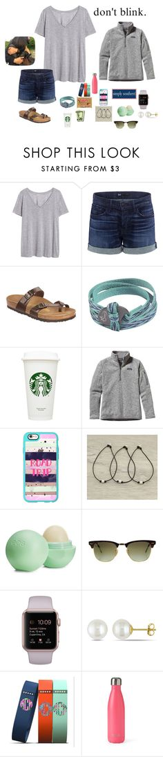 """""""Football game tonight! GO PIRATES 🔴⚪️🔵"""" by mackenzielacy814 ❤ liked on Polyvore featuring H&M, 3x1, Birkenstock, Chaco, Patagonia, Casetify, Eos, Ray-Ban, Miadora and S'well"""
