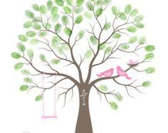 Baby Shower Thumbprint Tree Guest Book Alternative, Nursery Wall Art, Family Tree, Personalized Print w/ Love Birds & Swings, 16x20