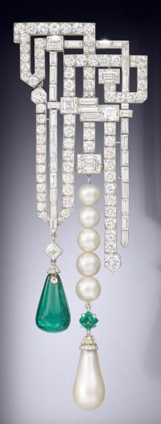 A magnificent and rare Art Deco natural pearl, emerald and diamond brooch, by…