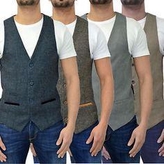 Mens Marc Darcy Waistcoat Designer Tailored Fit Tweed Herringbone & Soft Touch | eBay