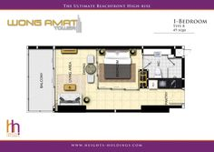 Wong Amat Tower - 1 Bedroom Floor Plan (Type B) by Heights Holdings