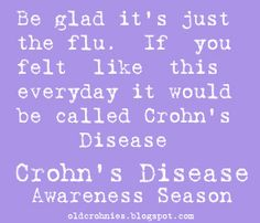 Diary of a Crohnie: Be glad it's just the flu. If you felt like this everyday it would be called CROHNS DISEASE!!  HELL YES!!