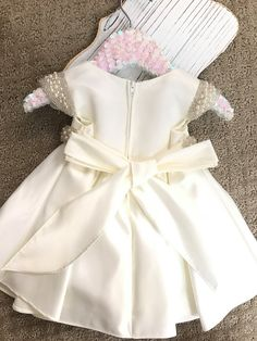 Vintage Flower Girl Dress White or Ivory Satin by BabyGalore0