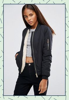 Missguided Tall Navy Shearling Lined Bomber Jacket, £35 ASOS