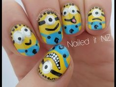 Despicable Me nail art tutorial! http://www.naileditnz.com/2013/07/despicable-me-nail-art-tutorial.html