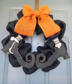 Burlap Halloween Wreath Bubble Wreath (Size X-Large)  with Primitive Witch Boots PAIR - (customize the colors)Swamp Water Line.