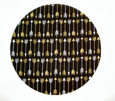 Mouse Pad mousepad / Mat - round - Shiny gold metallic arrows white - Computer Accessories Geekery Custom Desk Coworker Gifts Office Gifts