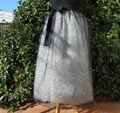 Wide skirt in 6 layer tulle white and black with silver embroidery