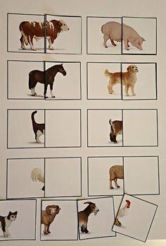 Min blogg om allt mellan himmel och jord: Gratis material till Barn: Hitta andra halvan av b... Farm Activities, Educational Activities For Kids, Animal Activities, Preschool Worksheets, Toddler Storytime, Toddler Learning, Early Learning, Farm Animals, Animals And Pets