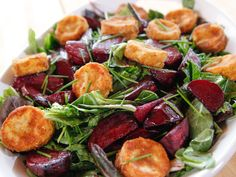 Roasted Beet and Goat Cheese Salad (with Mixed Greens) recipe from Ree Drummond | Food Network. Note: Goat cheese is breaded and deep fried.