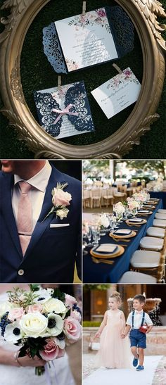 Navy and blush classic laser cut wedding invitations.#invitations#weddings#2018weddingtrends