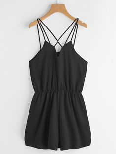 fdc58a1bd164 Shop Criss Cross Back Elastic Waist Satin Cami Romper online. SHEIN offers  Criss Cross Back Elastic Waist Satin Cami Romper   more to fit your  fashionable ...