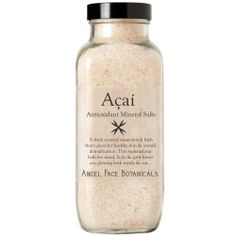 Açaí Antioxidant Dead Sea Bath Salts by Angel Face Botanicals. $24.00. Dead Sea Salts detoxify & re-mineralize your system. Vitamin C neutralizes the Cholorine in your water & has soothing skin care benefits. Fresh Aromatherapy works to Cleanse & Replenish your entire being. Formualted with Açaí Berry, the Super-Fruit packed with Antioxidants. Scented with the pure & natural Essential Oils of Pink Grapefruit, Lime & Rosemary. Açaí Antioxidant Mineral Bath Sa...